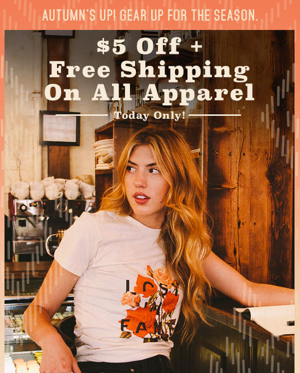 $5 Off + Free Shipping On All Apparel